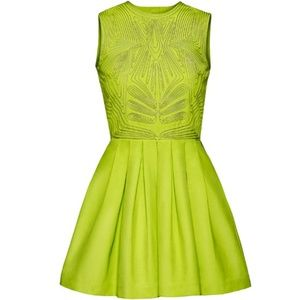 H&M Lime Box Pleated Dress frm Concious Collection